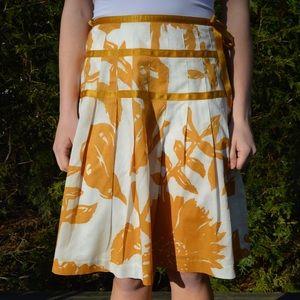 Midi Mustard Yellow and White Skirt GAP 1